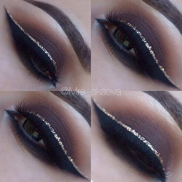 BROWN SMOKEY EYE + GLITTER EYELINER